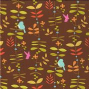 Moda Wrens and Friends - 2981 - Multi-Colour Leaf and Bird on Brown - 10003-14 Cotton Fabric